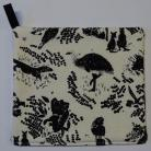 Australian Wildlife (Black Silhouettes on White Background) Pot Holder