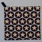 Cream Stars in Burgundy & Navy Circles Pot Holder