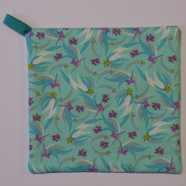 Eucalyptus (Gum Tree) Leaves, Flowers & Nuts (Turquoise Background) Pot Holder
