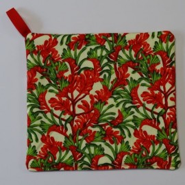 Red and Green Kangaroo Paw Pot Holder